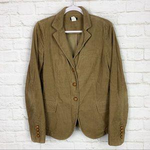 J. Crew Brown Corduroy Leather Button Blazer 77897